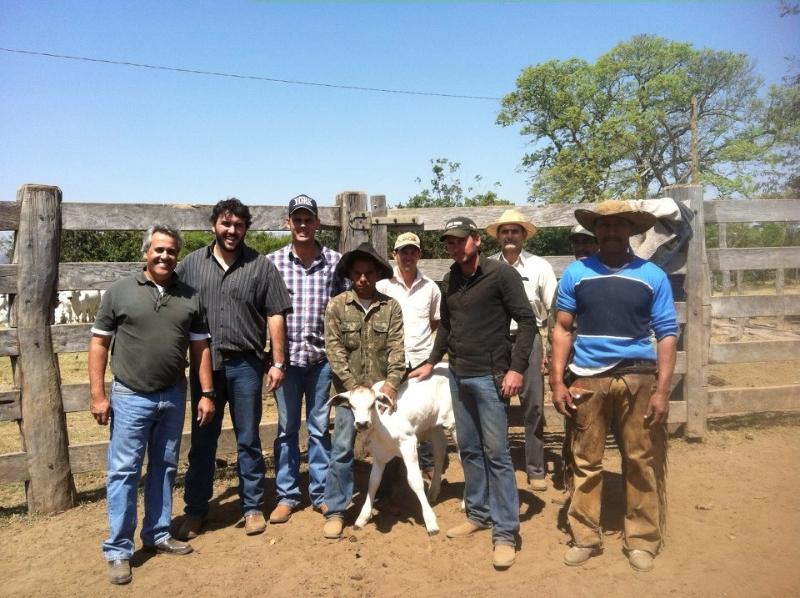 Mauro Correia ao lado de York Corrêa e Daniel Corrêa juntamente com o veterinário Lourival Jr. e funcionários da fazenda.